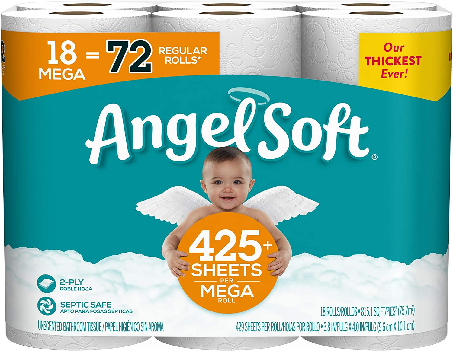 Angel Soft Toilet Paper, 72 Regular Rolls, 18 Count