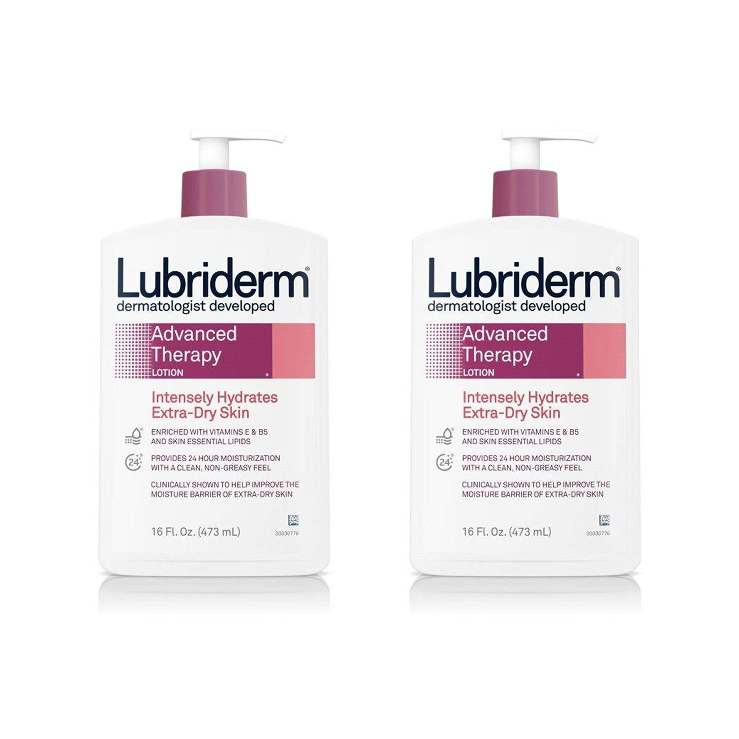Lubriderm Advanced Therapy Moisturizing Lotion with Vitamins E and B5, Deep Hydration for Extra Dry Skin, Non-Greasy Formula, 16 Fl Oz, Pack of 2 by Lubriderm