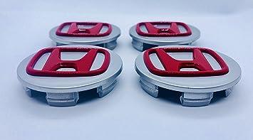Sea 6 M00 B f/ür Honda Accord CR-V Civic Jazz Legende und andere Modelle 0 W17 Silber-rotes Logo Emblem badgeD 4 x hochwertige Honda 70 mm Felgenabzeichen