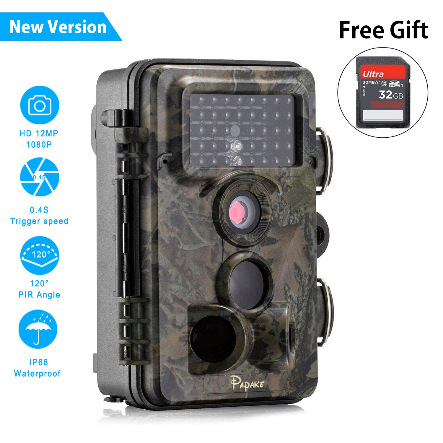 Trail Camera, Papake Wildlife Camera Hunting Game Camera with Night Vision, 1080P HD 12 MP 3 Zone Infrared Sensor IP66 Waterproof Deer Camera Surveillance Scouting (With 32G SD Card)