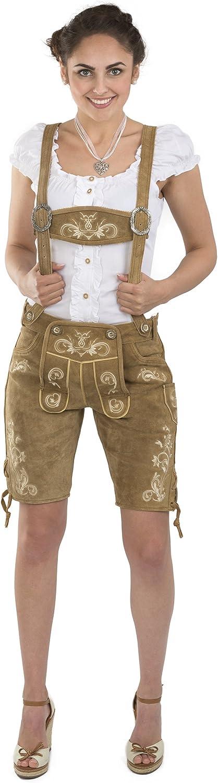 Schöneberger Trachten Pantalones de Cuero para Damas Wiesnzauber - Elegante pantalón de Cuero de Longitud Media de Trachten