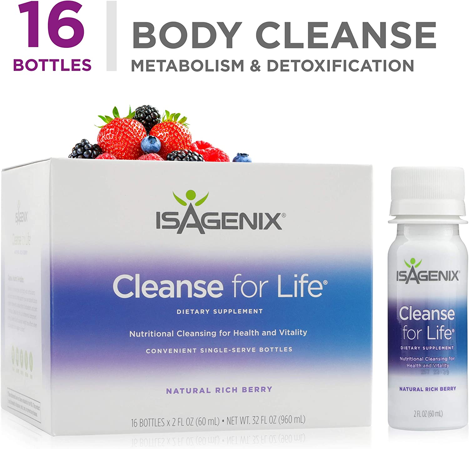 Isagenix Cleanse 4 Life 16 Count 2 oz Bottles