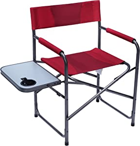 Portal Compact Steel Frame Folding Director's Chair Portable Camping Chair with Side Table, Supports 225 LBS
