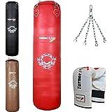 TurnerMAX Sac de frappe en cuir garni avec chaîne pivotant sans perforation, Sac de frappe Entraînement MMA Gants de boxe Rouge