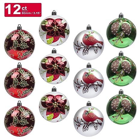 9X Weihnachten Gold Silber Tannenzapfen Kugeln Weihnachtsbaum Dekor Ornament Ges