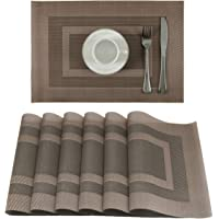 U'Artlines Vinyl Placemats for Dining Table Heat Insulation Stain Resistant Washable PVC Kitchen Table Mats (SK Coffee…