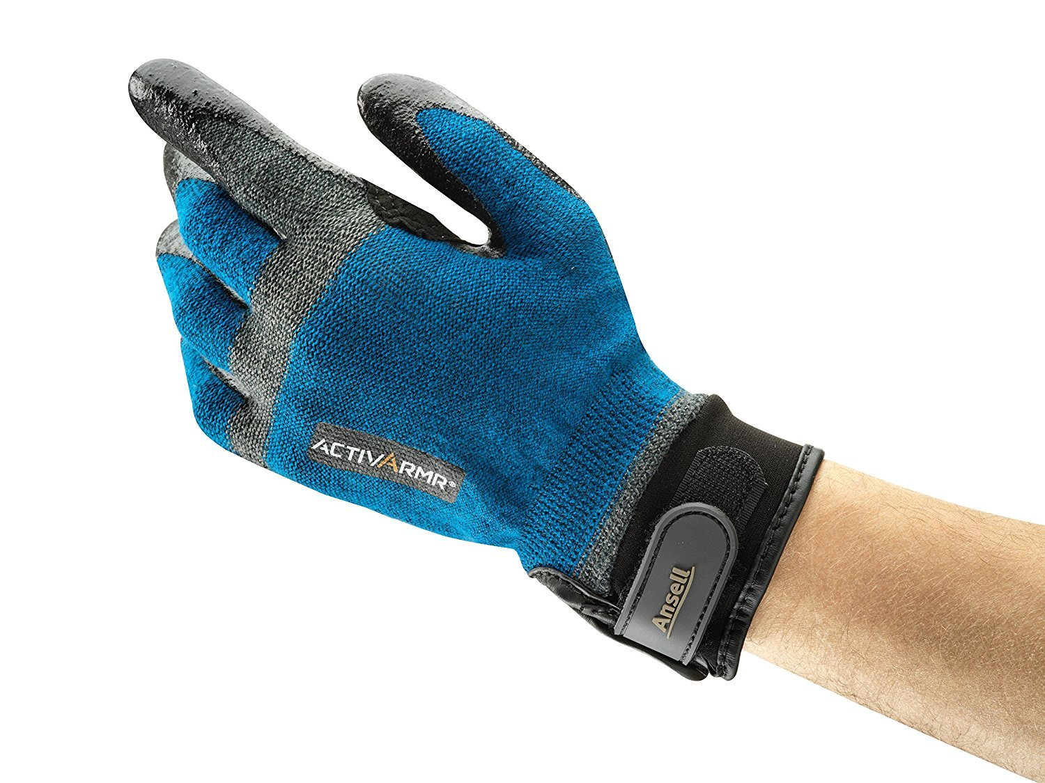 Ansell ActivArmr 97-002 Kevlar/Stainless Steel HVAC Glove, Nitrile Coating, Adjustable Cuff, Large (Pack of 1 Pair)