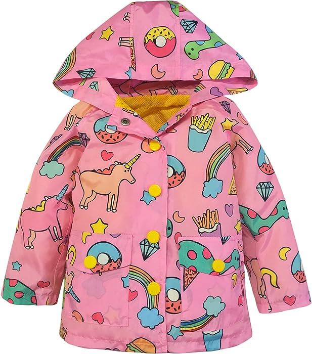 f468cf1d75aa Amazon.com  YNIQ Girls  Lightweight Jacket Raincoat Unicorn Print ...