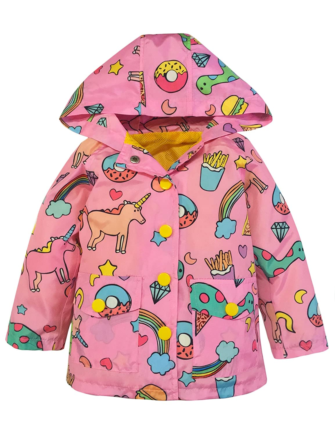 YNIQ Girls' Lightweight Unicorn Print Raincoats