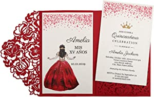 DORISHOME 4.7x7 Inch 50PCS Blank Red Quinceanera Invitations Kit Laser Cut Hollow Rose Pocket Quinceanera Invitation Cards with Envelopes for Quincenera Birthday quinceanera Invite