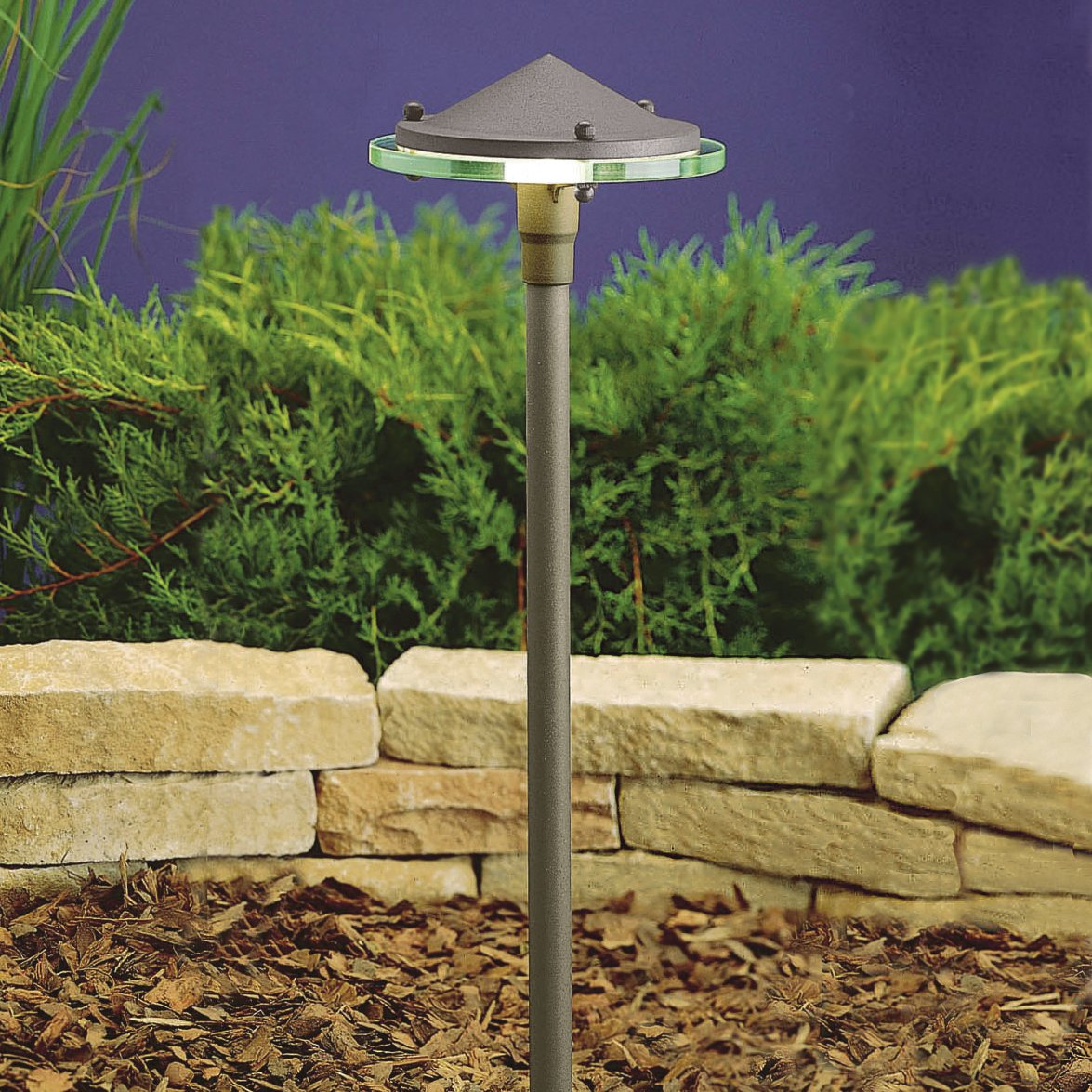 Kichler Lighting 15817AZT Landscape Brass LED Path Light with Clear Glass Diffuser, Textured Architectural Bronze