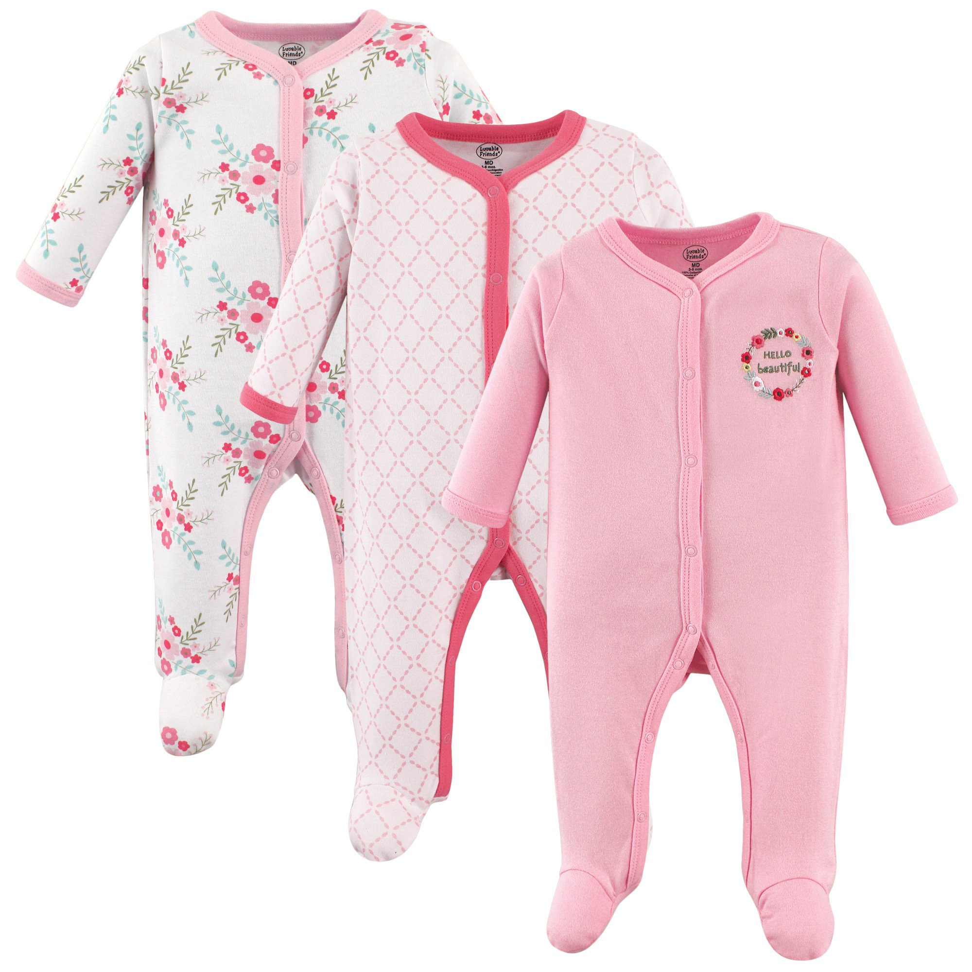 Luvable Friends Unisex Baby Sleep and Play, Pink Floral 3-Pack, 3-6 Months (6M)