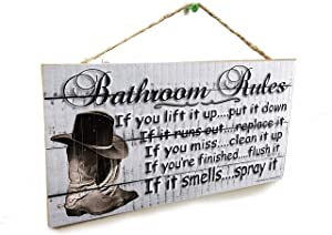 "Blackwater Trading Boots Western Bathroom Rules If It Smells Spray It Sign Plaque 5""x10"" Cowboy Cowgirl"