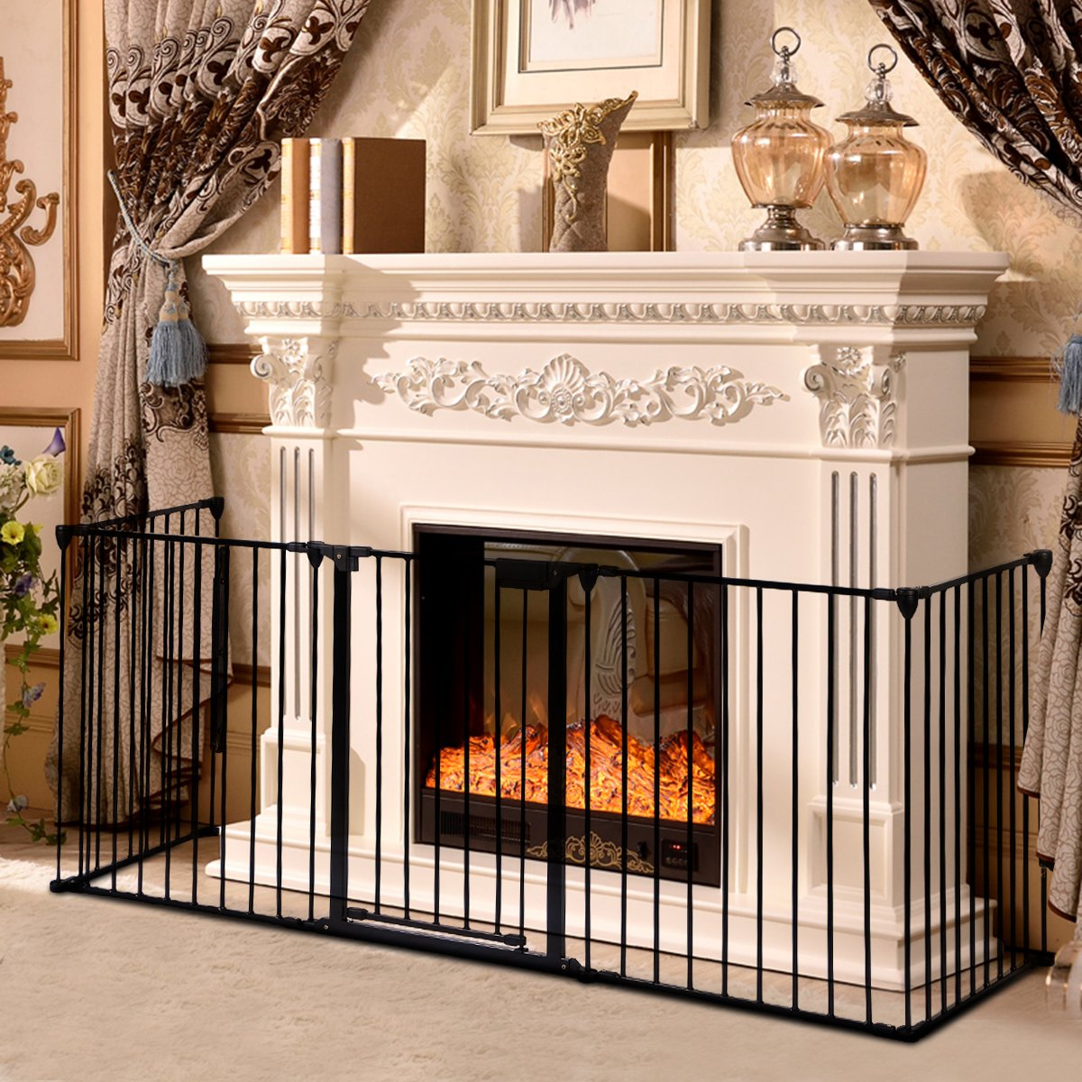 costway baby safety playpen hearth gate metal fire gate room