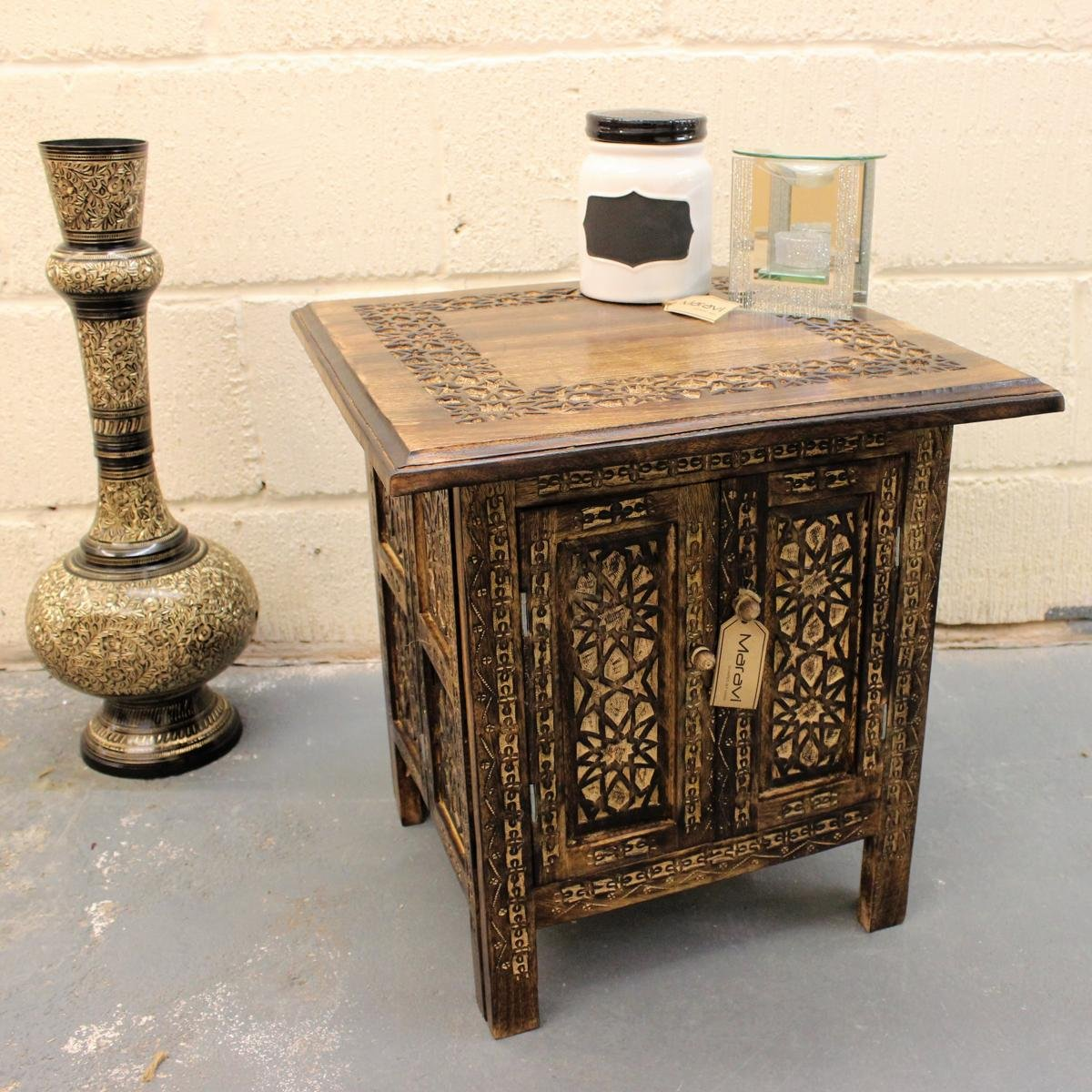 Hand Carved 18'' Square Side Table Moroccan Style Carving Storage Compartment