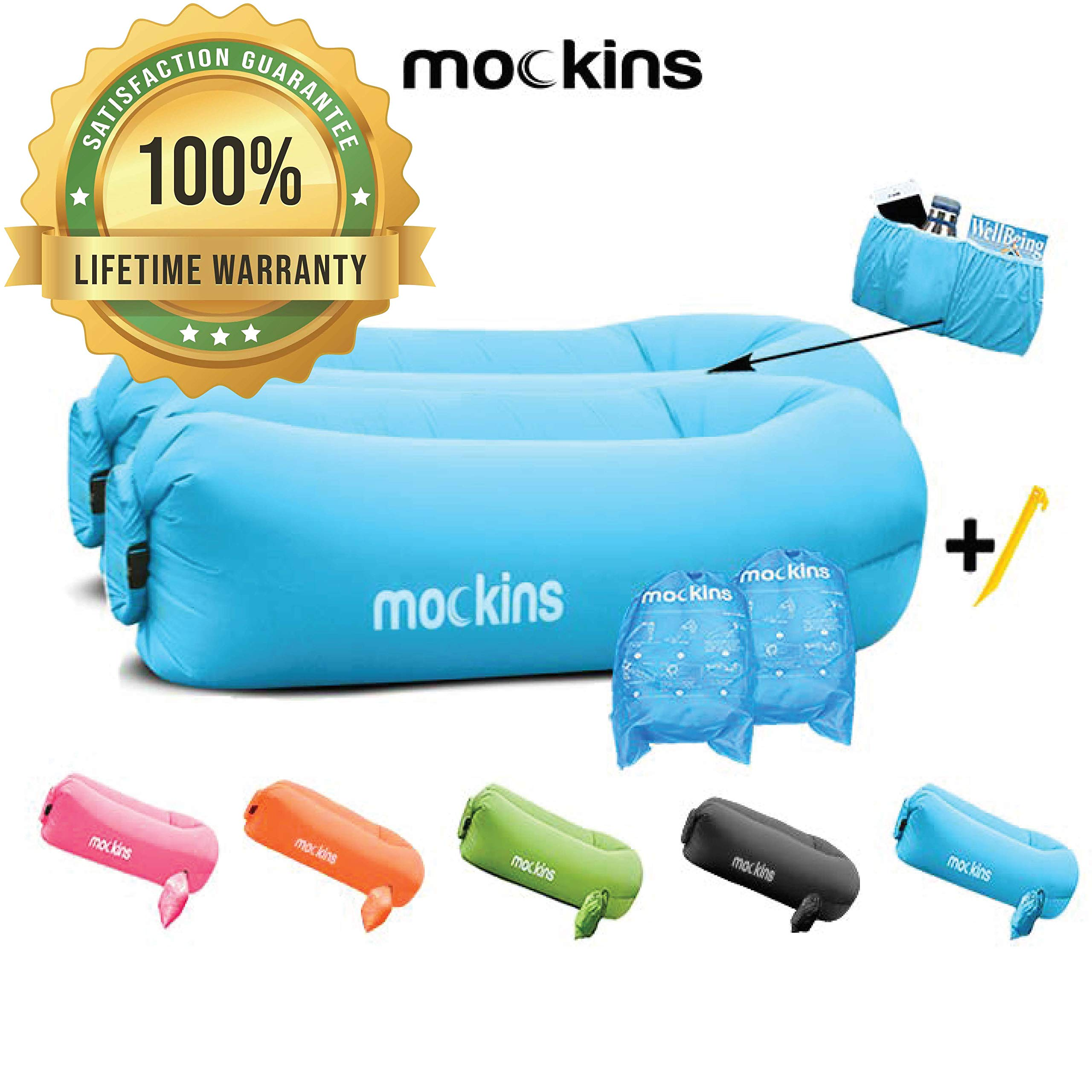 Mockins 2 Pack Blue Inflatable Lounger Hangout Sofa Bed with Travel Bag Pouch The Portable Inflatable Couch Air Lounger is Perfect for Music Festivals and Camping Accessories Inflatable Hammock ... ... ... by Mockins