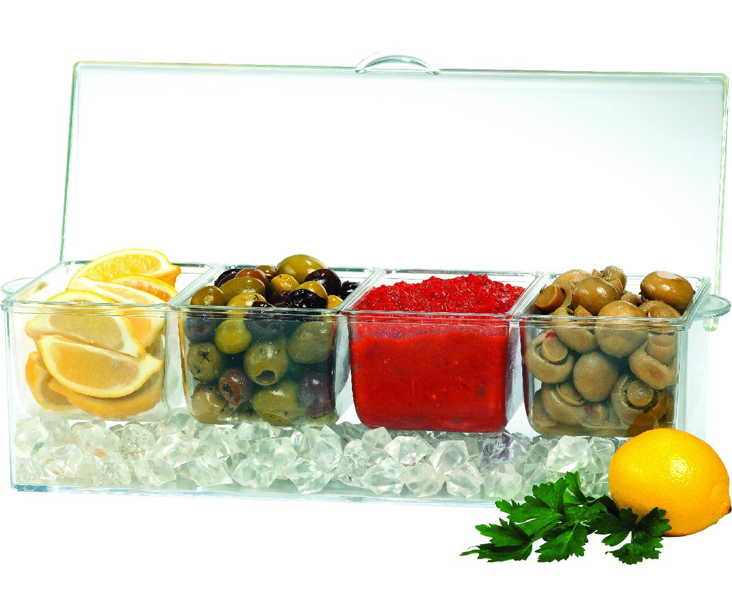 Jumbl Condiments Caddy Chilled Server Tray On Ice. 4 Big Sections Organize & Dispense Condiments With Ice Compartment Underneath. Container Made Of Shatterproof Acrylic Plastic. JUM-029