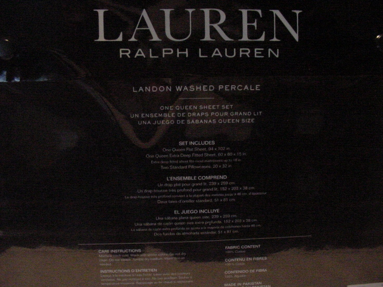 Amazon.com: Ralph Lauren Landon Washed Percale White Sheet Set Queen: Home & Kitchen