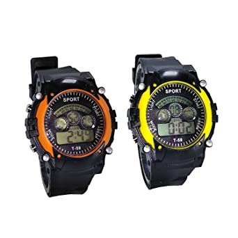 Rokcy Digital Multicolor Dial Combo Of Boy's Watch (Kids Orange-Yellow)