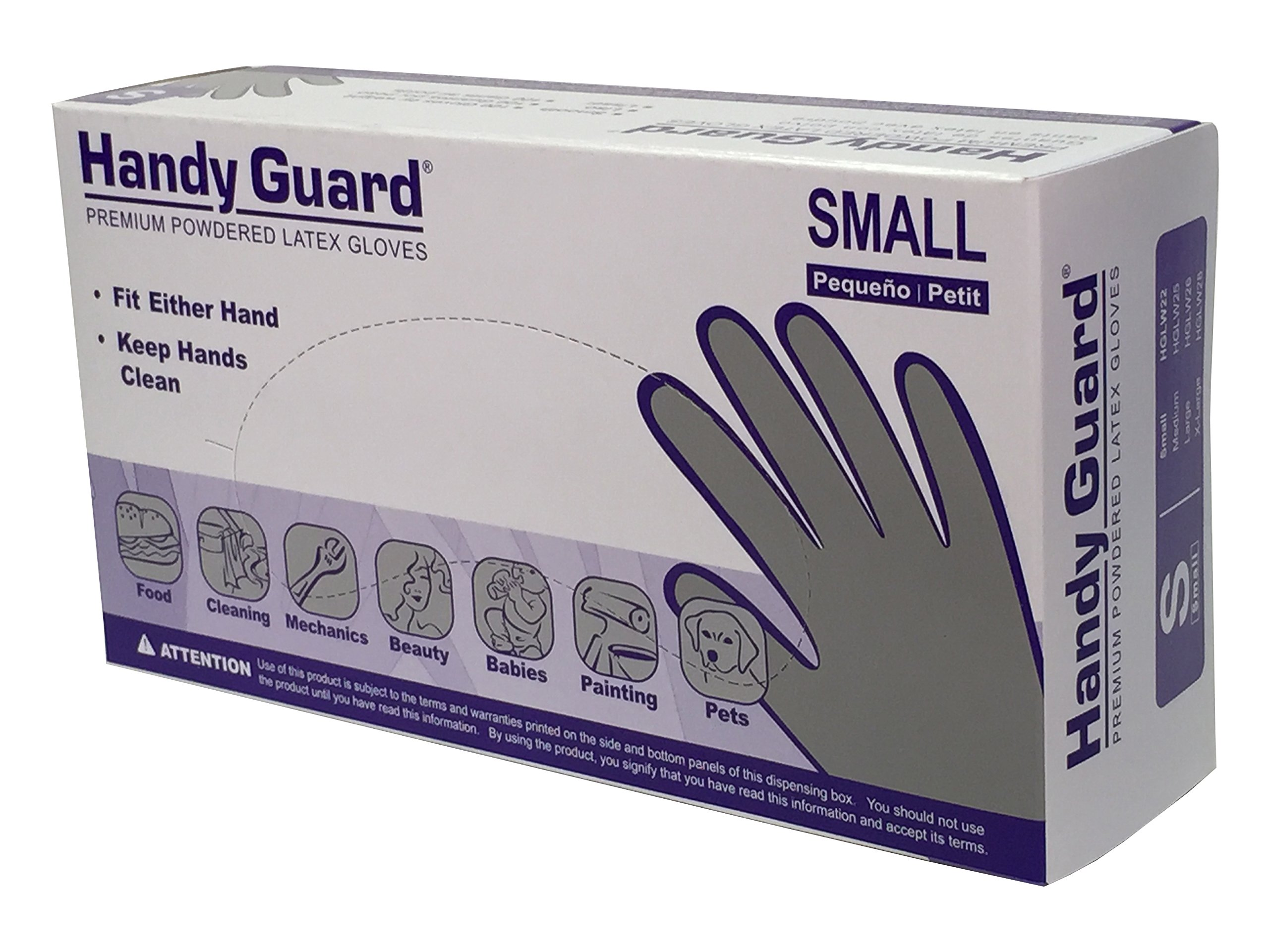 Adenna Handy Guard 4 mil Latex Powdered Gloves (White, Small)