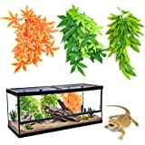HYLYUN 3 Pack Reptile Plants - Hanging Silk Terrarium Plant with Suction Cup for Bearded Dragons Lizards Geckos Snake Hermit