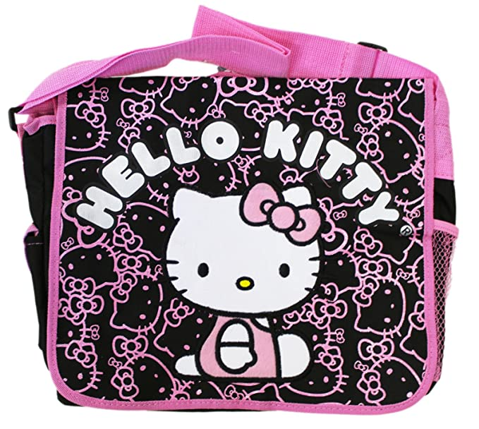 07cf522ff7d0 Image Unavailable. Image not available for. Color  Sanrio s Hello Kitty Face  and Bow Pattern Black Pink Messenger Bag