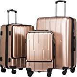 Coolife Luggage Expandable Suitcase 3 Piece Set ABS+PC TSA Lock with Computer Pocket