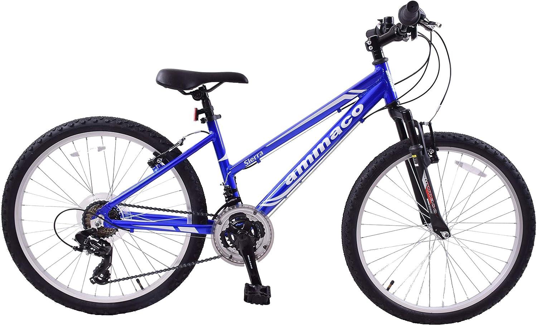 Ammaco Sierra 26 Wheel Front Suspension Low Step Alloy 16 Frame Mountain Bike Blue//White 21 Speed