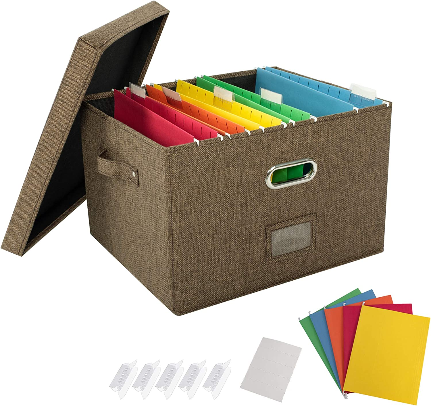 JSungo 2 Pack File Organizer Box Office Document Storage with Lid, Collapsible Linen Hanging Filing Organization, Home Portable Storage with Handle, Letter Size Legal Folder, Brown