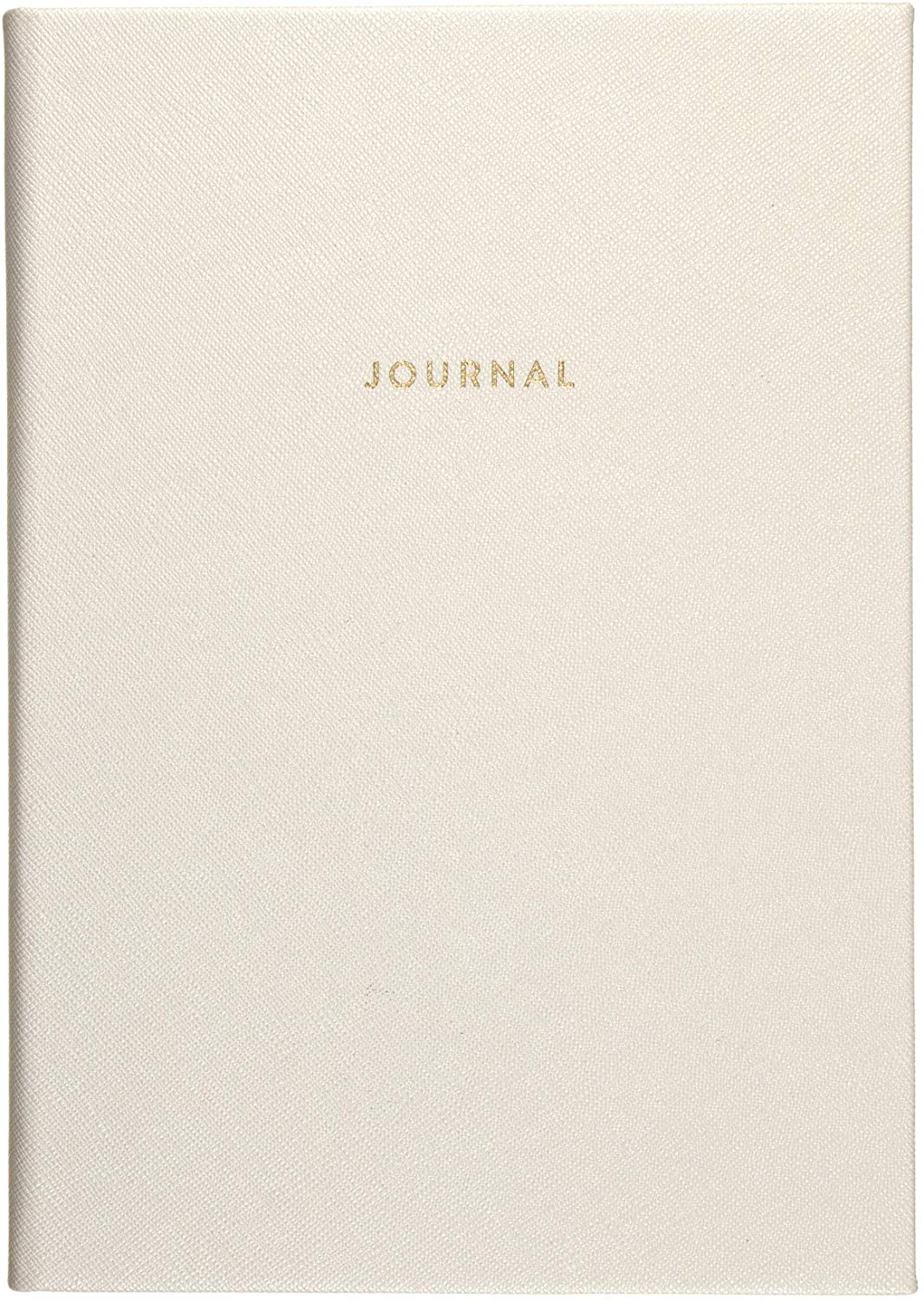 Eccolo Style Journal, 256 Lined Pages Notebook, White Saffiano, 6x8