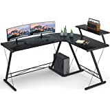 """Coleshome Reversible L Shaped Desk 60.8"""" Home Office Desk with Round Corner Computer Desk with Large Monitor Stand, PC…"""