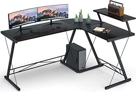 """Coleshome Reversible L Shaped Desk 60.8"""" Home Office Desk with Round Corner Computer Desk with Large Monitor Stand, PC Table Workstation, Black"""