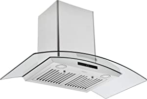 Ancona AN-1536 36 in. Convertible Wall-Mounted Glass Canopy Range Hood in Stainless Steel