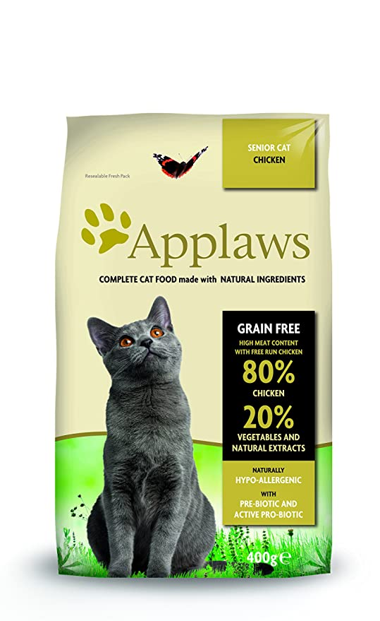 Applaws Comida seca para gatos, pollo/senior, 400 g