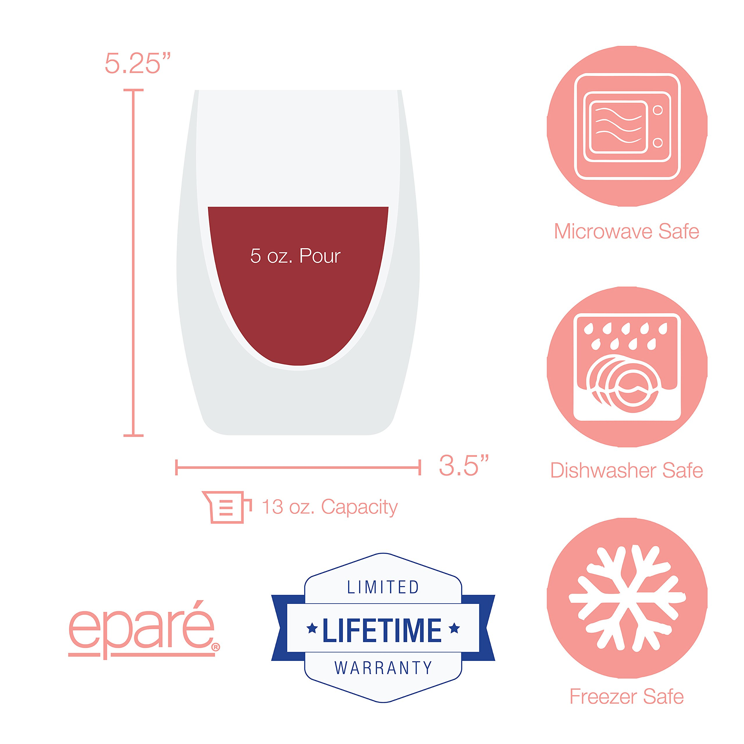 Eparé Wine Glasses, Insulated Stemless Tumbler Set (13 oz, 390 ml) – Double Wall Drinking Glass – Cup for Red, White, Rosé, Champagne, Cocktails, Juice, or Water – 2 Glasses by eparé (Image #7)