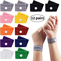 12 Pairs Sickness Bands, Motion Travel Morning Sickness Relief Bands, Natural Acupressure Wristbands, Anti Nausea Wrist Bands for Adults and Children Pregnancy/Sea/Car/Flying