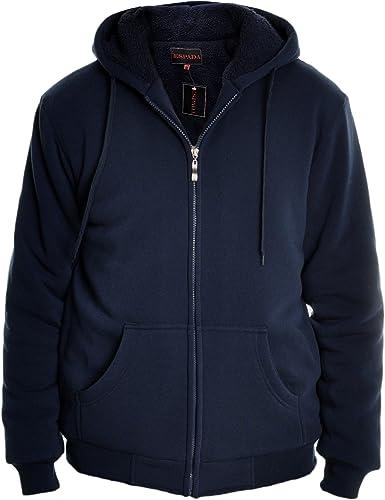 Mens Jacket Akcess Navy Blue Front Zip Hooded Hoodie Medium Large XL 2XL NEW
