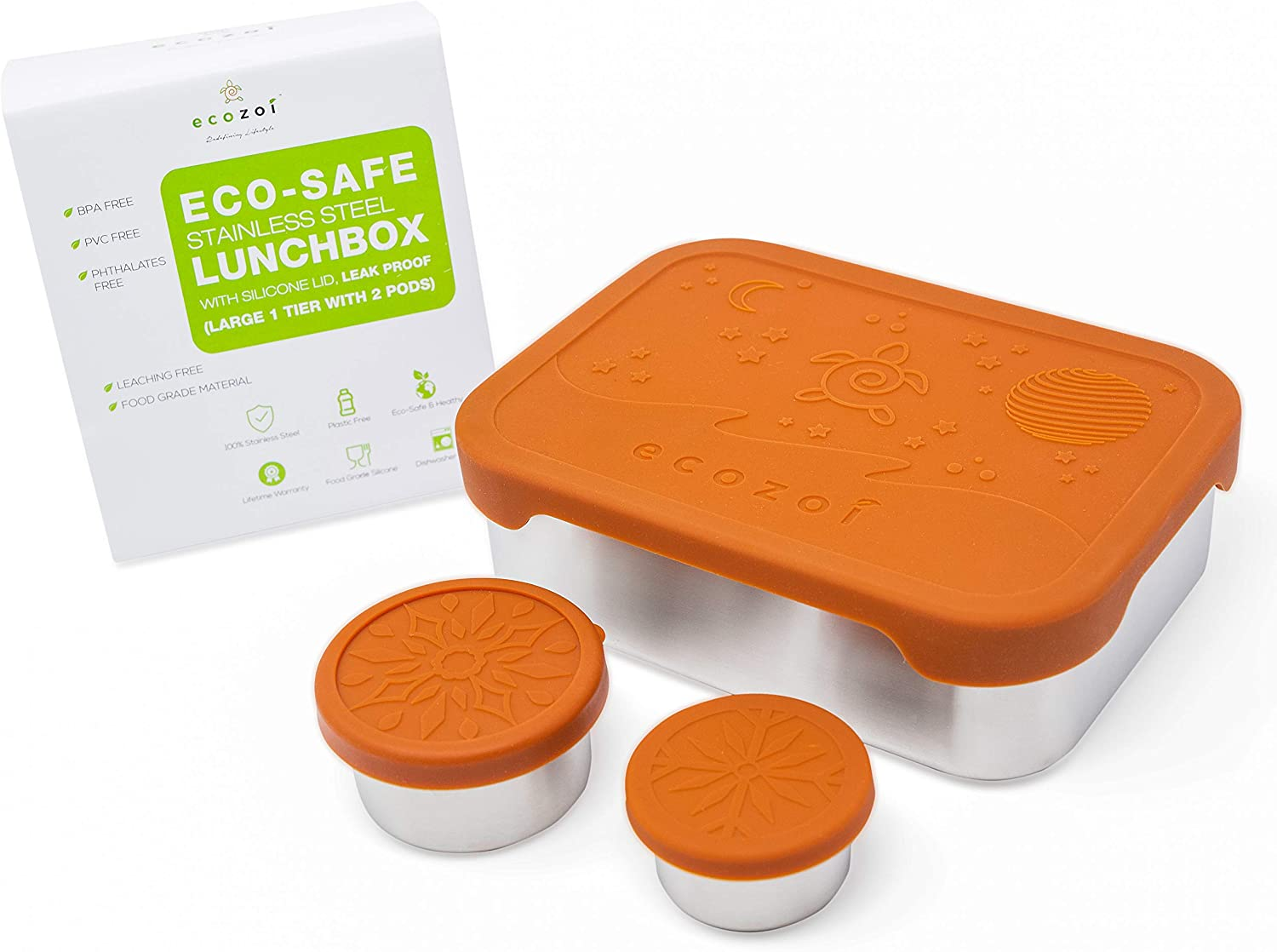 ecozoi Stainless Steel Bento Box Leak Proof 1-Tier Eco Metal Lunch Box 1200 Ml Or 40 Oz | 2 Bonus Pods and Silicone Lid | Sustainable Zero Waste Eco-Friendly Food Storage