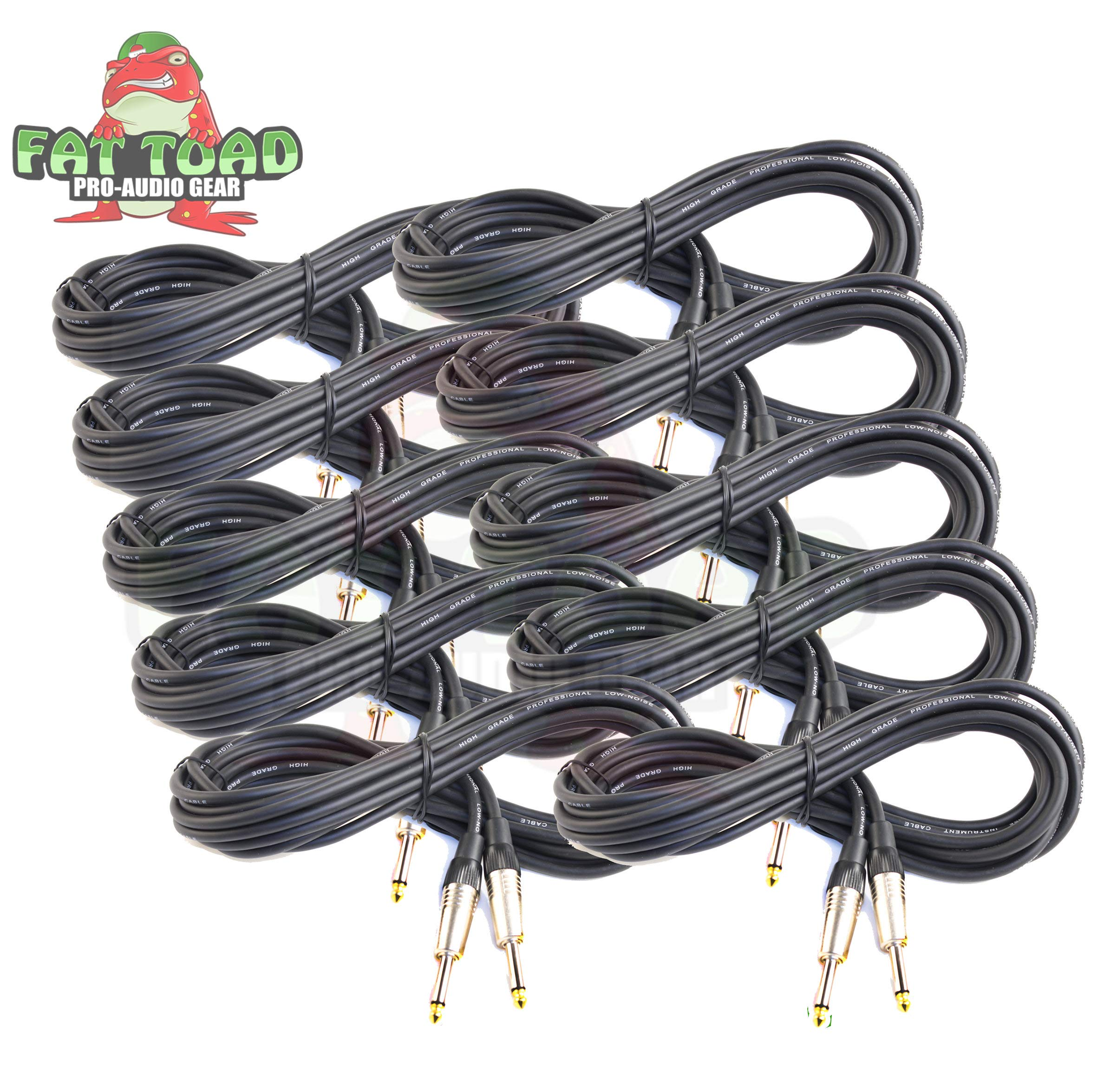 Guitar Cables (10 Pack) Instrument Cord by Fat Toad | 20 Gauge Patch Conductor for Electric or Acoustic Guitar, Bass, Keyboards & Pro-Audio Recording Studio|Shielded 20 FT 1/4 Inch Straight-End Wires