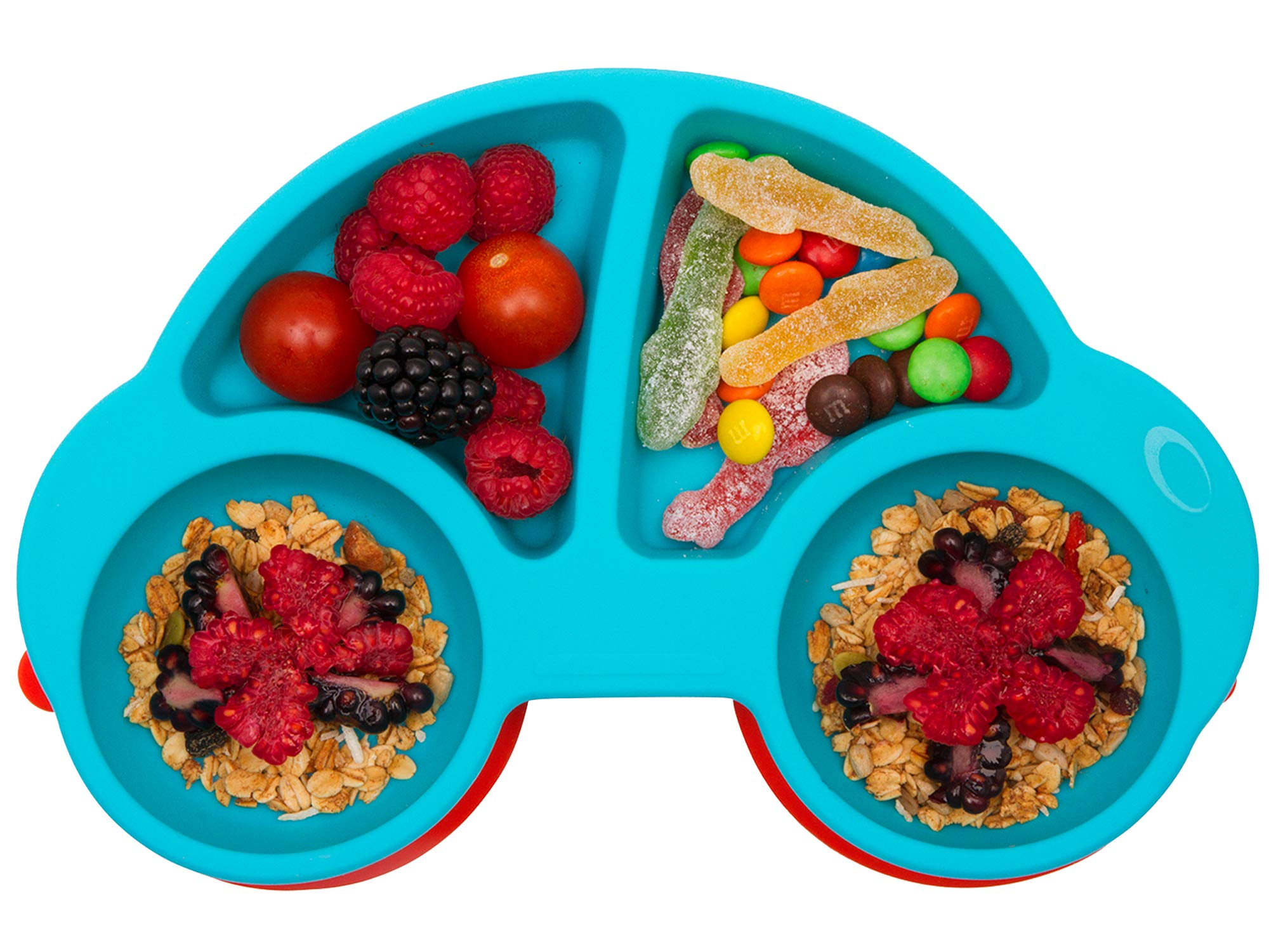 Qshare Toddler Plates, Portable Baby Plates for Toddlers, BPA-Free FDA Approved Strong Suction Plates for Toddlers, Dishwasher and Microwave Safe Silicone Placemat 11x8x1'' (CarBlue) by Qshare