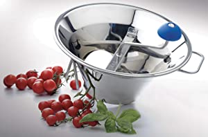 BelleVie Stainless Steel 5 Qts. (3 Lbs. per minute) Food Mill with 3 Cutting Plates
