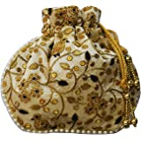 AyA Fashion Designer Royal Ethnic Clutch Silk Potli Batwa Wallet Bag with Beads Work |Suitable for Women |Hand embrodired Design |Rajasthani Style |Goes well with Traditional wear | Birdal Pursue, Partywear , Shadi |Suitable for keeping Mobile