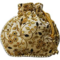 AyA Fashion Designer Royal Ethnic Clutch Silk Potli Batwa Bag with Beads Work |Hand embroidered Design|Rajasthani Style|Goes well with Traditional wear Bridal Purse, Partywear, shadi |Suitable for Mobile