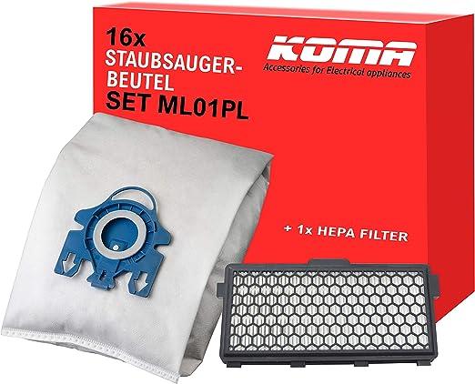KOMA ML01PL - 16 bolsas para aspiradora Miele tipo HGN / 1 filtro HEPA y soporte de plástico, compatible con Swirl M40: Amazon.es: Hogar
