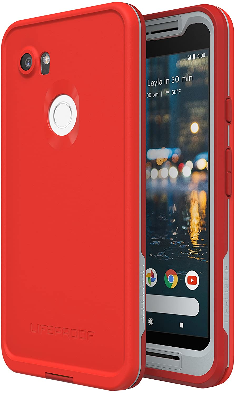 Lifeproof FRE Series Waterproof Case for Google Pixel 2 XL - Retail Packaging - FIRE Run (Cherry Tomato/Sleet/Molten Lava)
