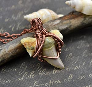 Ancient Shark Tooth Necklace Copper Wire Wrap Pendant Jewelry for men Rustic Amulet Tribal Necklace Fossil Necklace