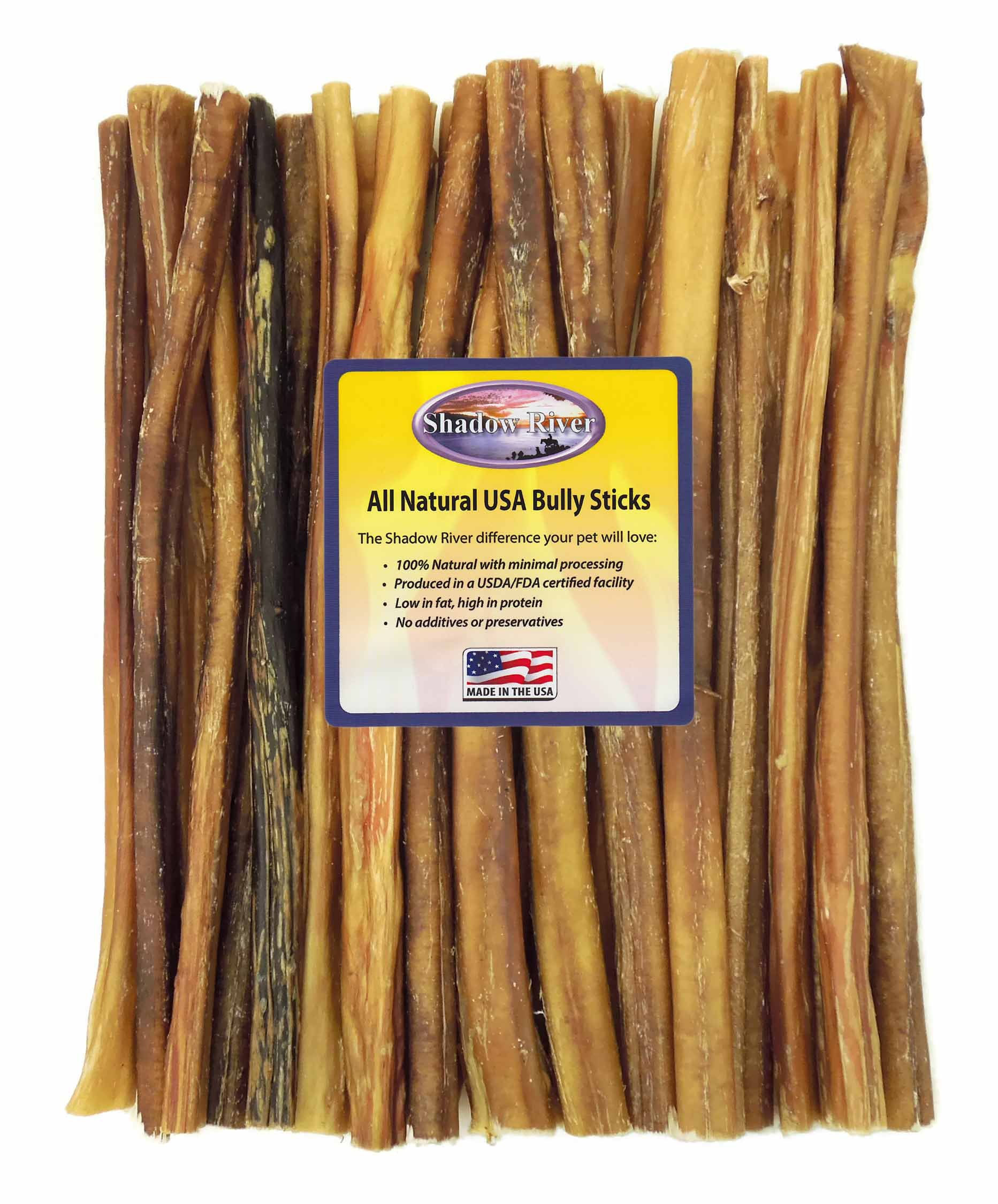 Shadow River 25 Pack 12 Inch Regular All Natural Beef Bully Sticks for Dogs