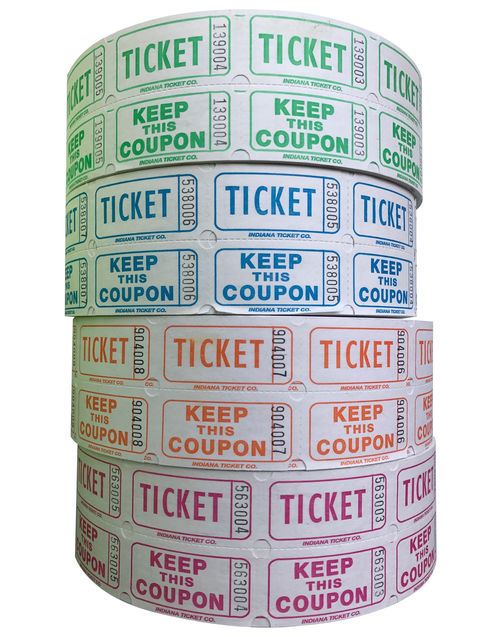 Raffle Tickets - (4 Rolls of 2000 Double Tickets) 8,000 Total 50/50 Raffle Tickets (Lime/Blueberry/Tangerine/Raspberry) by Indiana Ticket Company