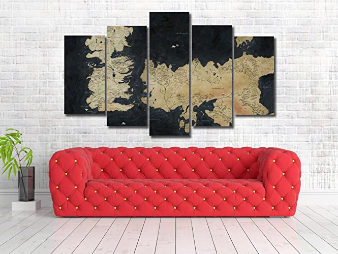 Amazon.com: Game Of Thrones Map Framed Canvas Print - Wall Art ...