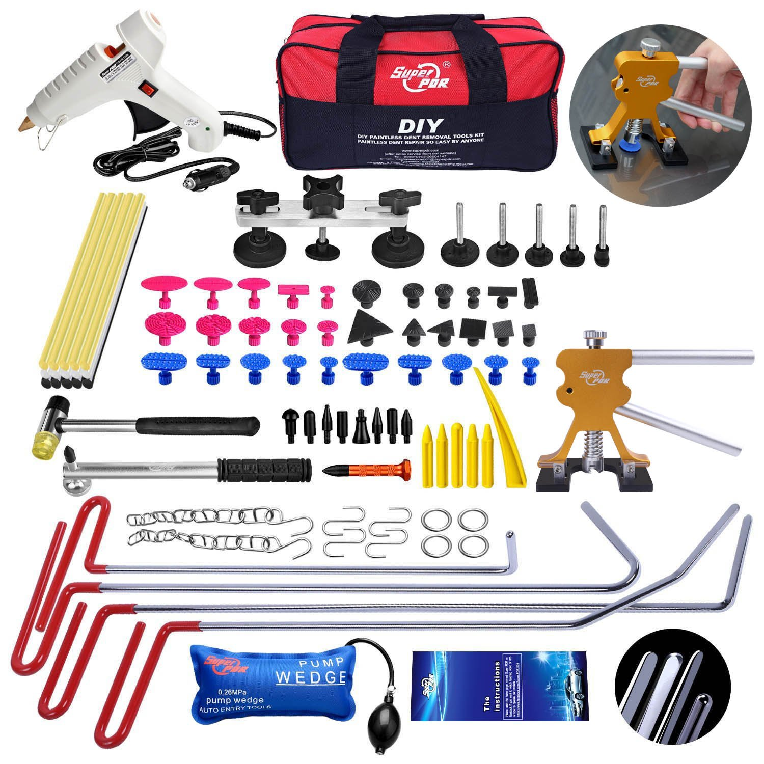 AUTOPDR 87Pcs DIY PDR Tools Motorcycle Auto Body Paintless Dent Removal Tools Kit Hot Glue Glun Sticks Dent Puller for Hail Damage Repair Kit